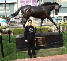Always have to represent Queen Z! Samantha Bussanich at Santa Anita and Zenyatta\'s new statue.