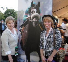 Cheryl Holcombe and Lana Baker shopping in the Zenyatta tent.