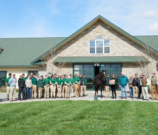 Zenyatta, Team Z and Lane's End staff at Zenyatta's birthday celebration. Photo by Kyle Acebo.
